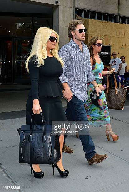 Jessica Simpson and Eric Johnson seen leaving Fiorello's restaurant on the Upper West Side on September 10 2012 in New York City
