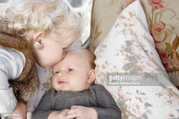 Jessica Simpson and Eric Johnson's daughter Maxwell and new son Ace Knute are seen during a photo shoot at their home August 12 2013 in Los Angeles...