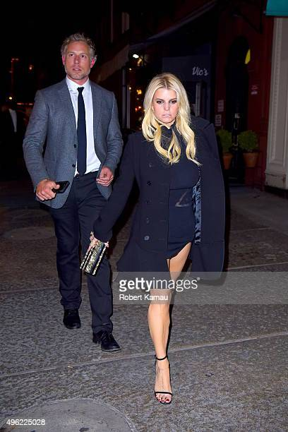Jessica Simpson and husband Eric Johnson were seen out for a Tom Everhart Art Gallery event then dinner at Vic's Restaurant in SoHo on November 7...
