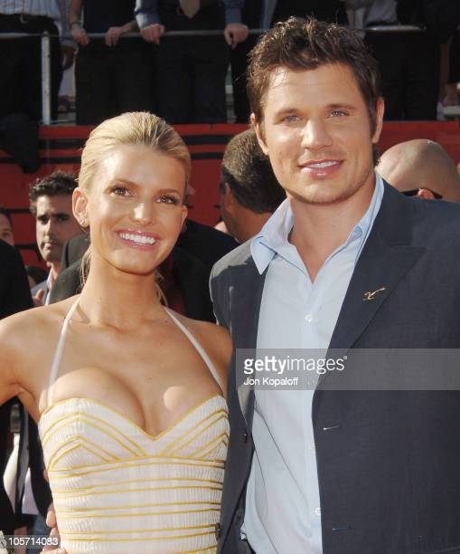 Jessica Simpson and husband Nick Lachey during 2005 ESPY Awards - Arrivals at Kodak Theatre in Hollywood, California, United States.