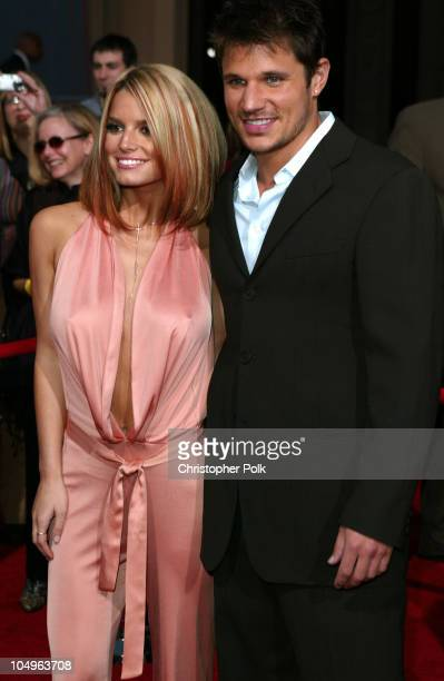 Jessica Simpson and husband Nick Lachey during 31st Annual American Music Awards Arrivals at Shrine Auditorium in Los Angeles California United States