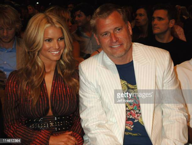 Jessica Simpson and Joe Simpson during 2006 MTV Movie Awards - Backstage and Audience at Sony Studios in Culver City, California, United States.