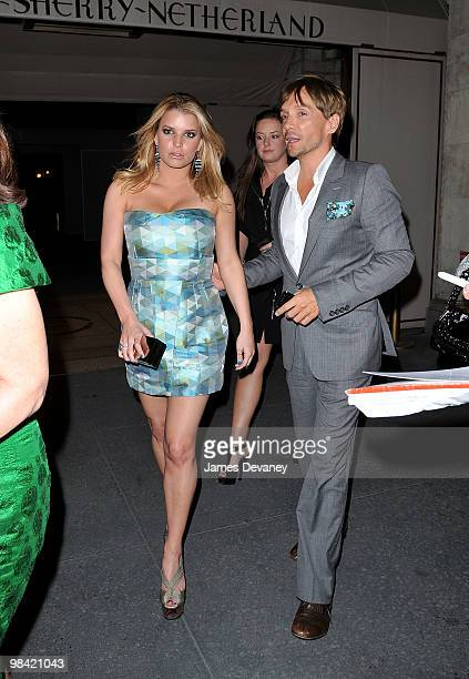 Jessica Simpson and Ken Paves are seen leaving Harry Cipriani's at the SherryNetherland Hotel on April 12 2010 in New York City