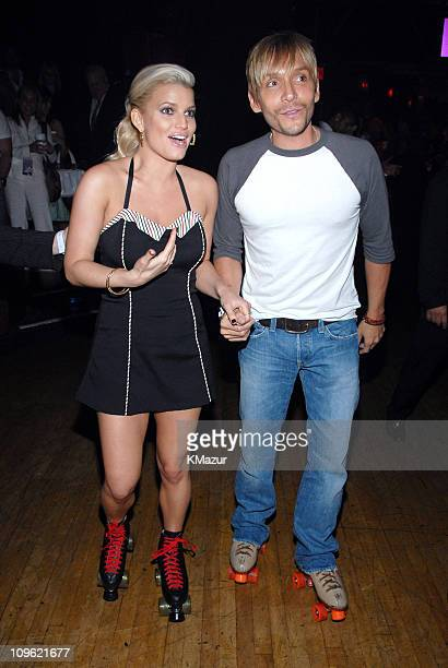 Jessica Simpson and Ken Paves during Yahoo and Jessica Simpson Roller Skating Party Celebrating A Public Affair Inside at The Roxy in New York City...