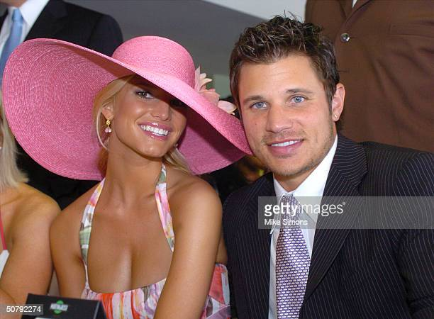Jessica Simpson and Nick Lachey attend the 130th Running of the Kentucky Derby May 1 2004 in Louisville Kentucky