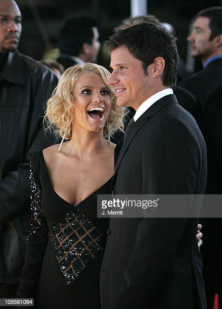 Jessica Simpson and Nick Lachey during 31st Annual People's Choice Awards Arrivals at Pasadena Civic Auditorium in Pasadena California United States