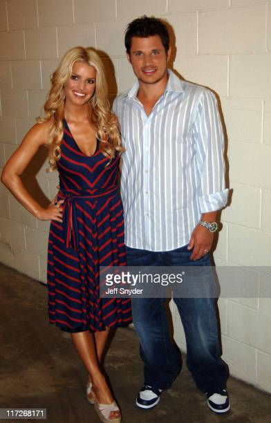 Jessica Simpson and Nick Lachey during Jessica Simpson and Nick Lachey Pre-Game Performance at FedEx Field at FedEx Field in Landover, Maryland,...