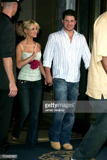 Jessica Simpson and Nick Lachey during Jessica Simpson and Nick Lachey Depart from the Manhattan Hotel August 4 2005 at Streets of Manhattan in New...