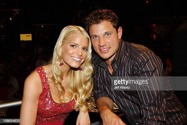Jessica Simpson and Nick Lachey during MTV Bash - Backstage and Audience at Hollywood Palladium in Hollywood, California, United States.