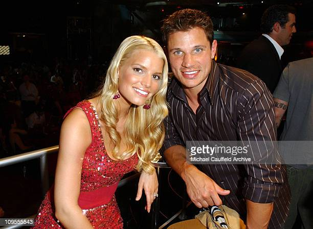 Jessica Simpson and Nick Lachey during MTV Bash - Backstage and Audience in Hollywood, California, United States.