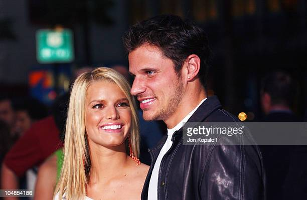 """Jessica Simpson and Nick Lachey during Premiere of """"Charlie's Angels: Full Throttle"""" at Grauman's Chinese Theatre in Hollywood, California, United..."""