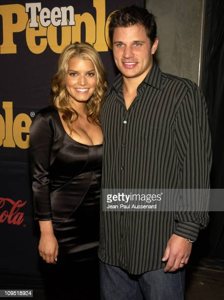 Jessica Simpson and Nick Lachey during Teen People and Universal Records Honor Nelly as the 2002 Artist of the Year - Arrivals at Ivar in Hollywood,...