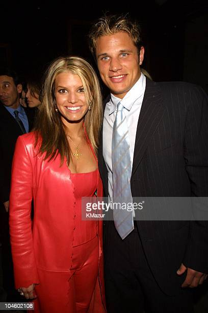 Jessica Simpson and Nick Lachey during The 28th Annual American Music Awards Columbia Records After Party at Las Palmas in Hollywood California...