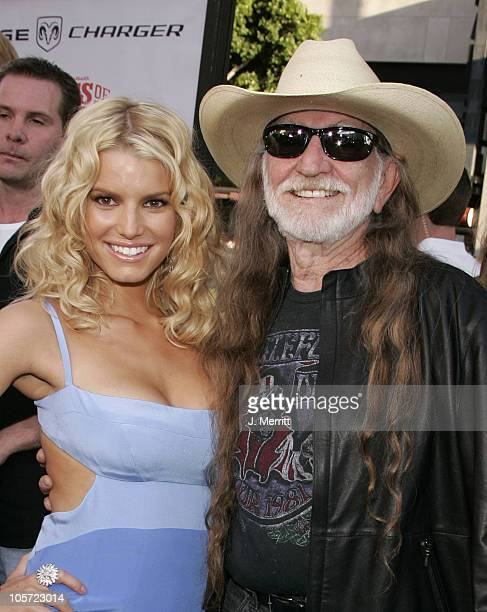 "Jessica Simpson and Willie Nelson during ""The Dukes Of Hazzard"" Los Angeles Premiere - Arrivals at Grauman's Chinese Theatre in Hollywood,..."