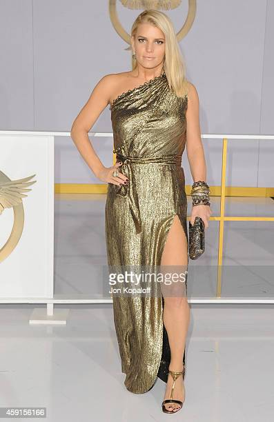 """Jessica Simpson arrives at the Los Angele Premiere """"The Hunger Games: Mockingjay Part 1"""" at Nokia Theatre L.A. Live on November 17, 2014 in Los..."""