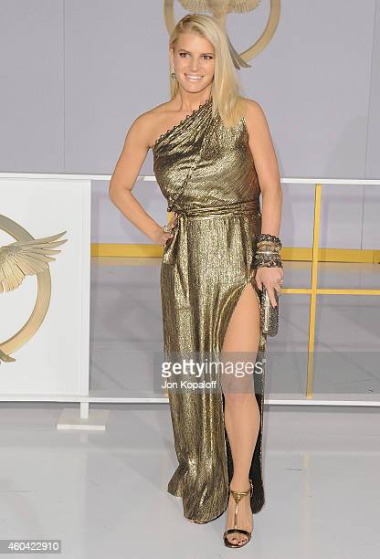 Jessica Simpson arrives at the Los Angele Premiere The Hunger Games Mockingjay Part 1 at Nokia Theatre LA Live on November 17 2014 in Los Angeles...