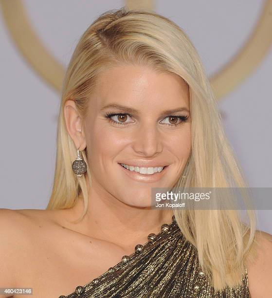 Jessica Simpson arrives at the Los Angele Premiere 'The Hunger Games Mockingjay Part 1' at Nokia Theatre LA Live on November 17 2014 in Los Angeles...