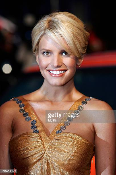 """Jessica Simpson arrives at the UK premiere of the new film """"The Dukes Of Hazzard"""" at Vue Leicester Square on August 22, 2005 in London, England."""