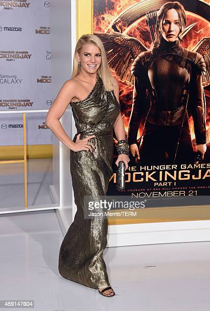 Jessica Simpson attends the Premiere of Lionsgate's The Hunger Games Mockingjay Part 1 at Nokia Theatre LA Live on November 17 2014 in Los Angeles...