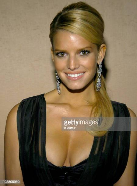 Jessica Simpson during 2004 Clive Davis PreGrammy Party Inside Arrivals at Beverly Hills Hotel in Beverly Hills California United States
