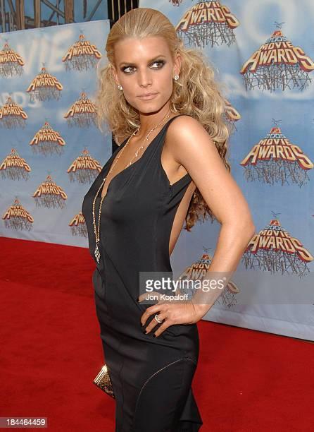 Jessica Simpson during 2005 MTV Movie Awards Arrivals at Shrine Auditorium in Los Angeles California United States