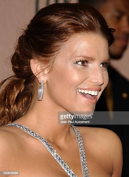 Jessica Simpson during 2007 Sony/BMG GRAMMY After Party Arrivals at The Beverly Hills Hotel in Beverly Hills California United States