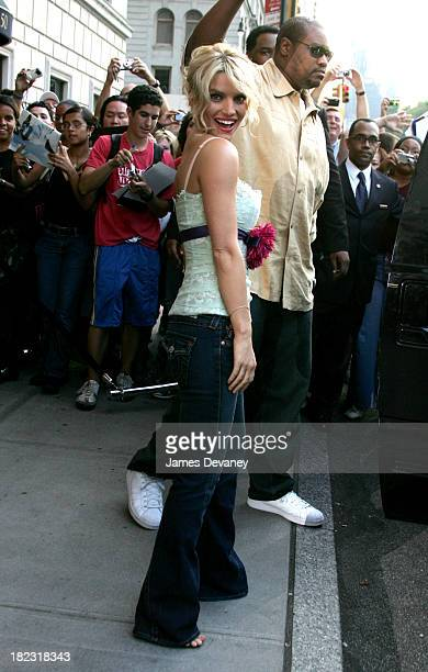 Jessica Simpson during Jessica Simpson and Nick Lachey Depart from the Manhattan Hotel August 4 2005 at Streets of Manhattan in New York City New...