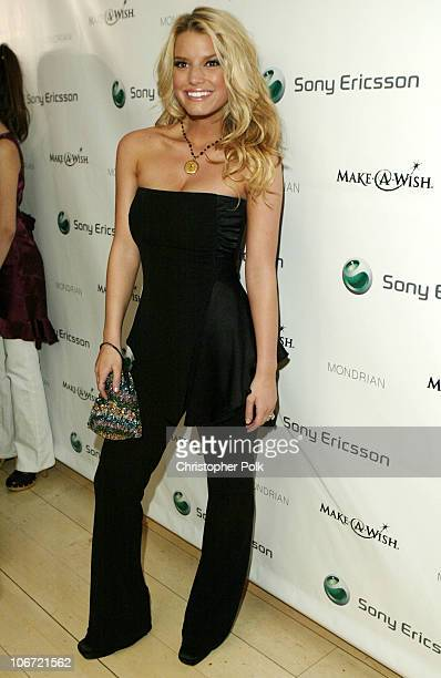 Jessica Simpson during Jessica Simpson and Nick Lachey Host Sony Ericsson T610/T616 Shoot for the Stars Charity Auction for the...