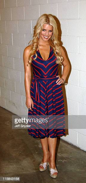 Jessica Simpson during Jessica Simpson and Nick Lachey Pre-Game Performance at FedEx Field at FedEx Field in Landover, Maryland, United States.