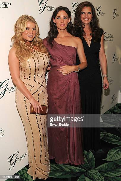 Jessica Simpson Jennifer Garner and Brooke Shields attend the grand opening of the Casino Club at The Greenbrier on July 2 2010 in White Sulphur...