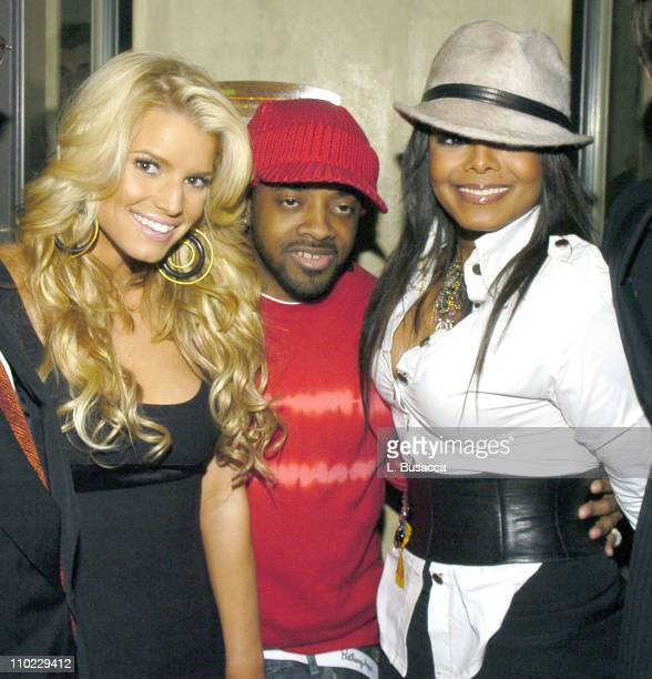 Jessica Simpson Jermaine Dupri and Janet Jackson during Clive Davis Hosts A Celebration of The American Music Awards at The Esquire House Inside at...