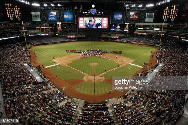 Jessica Simpson performs during a postgame concert at Chase Field on September 13 2008 in Phoenix Arizona