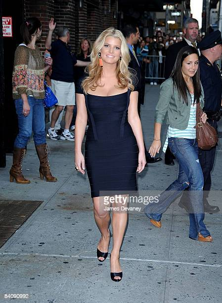 Jessica Simpson visits Late Show with David Letterman at the Ed Sullivan Theatre on September 11 2008 in New York City