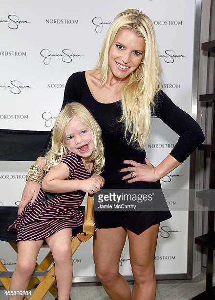Jessica Simpson wearing Jessica Simpson Collection and Maxwell Drew Johnson wearing Jessica Simpson Girls attend Jessica Simpson Collection Fashion...