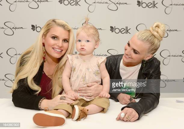 Jessica Simpson wearing Jessica Simpson Maternity with her daughter Maxwell Johnson and Ashlee Simpson wearing a Jessica Simpson dress visit Belk...