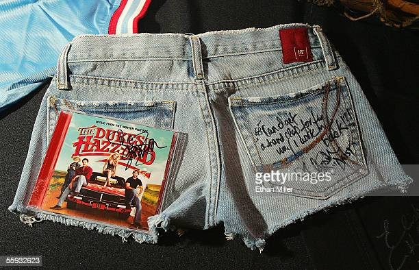 """Jessica Simpson's """"Daisy Dukes"""" shorts from """"The Dukes of Hazzard"""" movie are on display as one of the items up for bid at the launch of the """"uBid for..."""