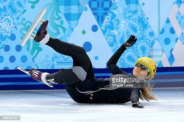 Jessica Smith of the United States falls while competing in the Short Track Speed Skating Ladies' 500m heats on day 3 of the Sochi 2014 Winter...