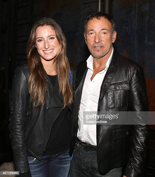 Jessica Springsteen and Bruce Springsteen backstage after a performance of 'The Last Ship' at the Neil Simon Theatre on October 15 2014 in New York...