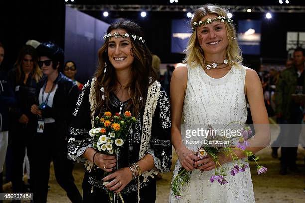 Jessica Springsteen and Hilary McNerney are introduced prior to the Charity ProAM class at Longines Los Angeles Masters at Los Angeles Convention...