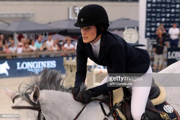 US Jessica Springsteen competes in the Jumping International of Monaco horse jumping competition as part of the Global Champions Tour on June 24 2017...