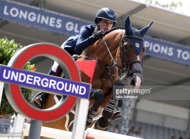 Jessica Springsteen during the Longines Global Champions Tour of London 2019 at Royal Hospital Chelsea on August 02, 2019 in London, England.