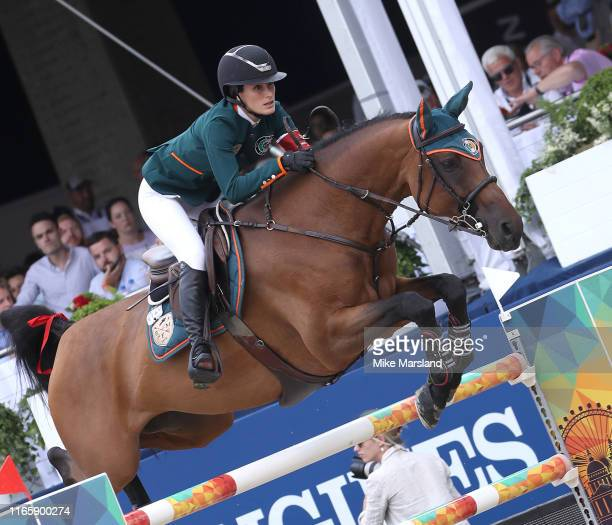 Jessica Springsteen during the Longines Global Champions Tour of London 2019 at Royal Hospital Chelsea on August 03, 2019 in London, England.