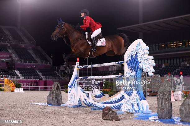 Jessica Springsteen of Team United States riding Don Juan Van de Donkhoeve competes in the Jumping Team Final at Equestrian Park on August 07, 2021...