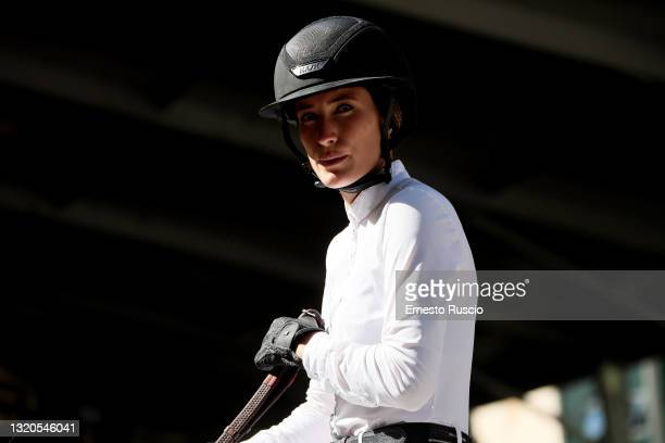 Jessica Springsteen of the United States Equestrian Team is seen during the CSIO Rome Piazza Di Siena International Equestrian Competition at Piazza...