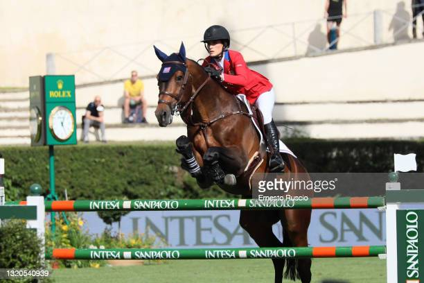 Jessica Springsteen of the United States Equestrian Team performs during the CSIO Rome Piazza Di Siena International Equestrian Competition at Piazza...