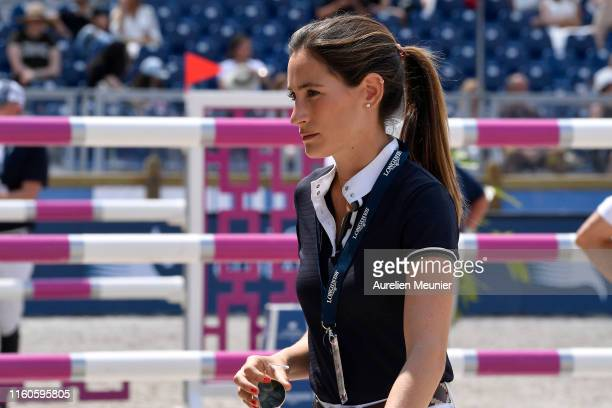 Jessica Springsteen of The United States of America reacts on day three of the Longines Paris Eiffel Jumping in the Champ de Mars on July 07 2019 in...