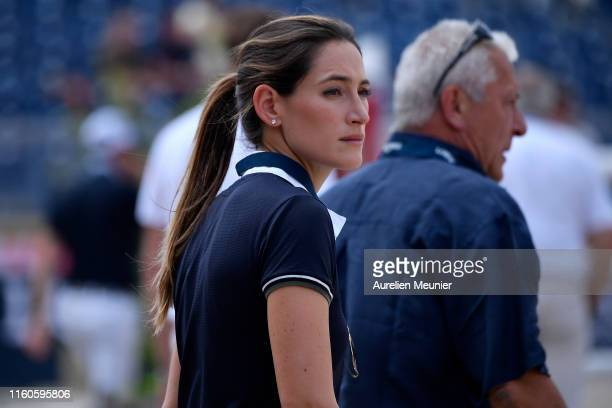 Jessica Springsteen of The United States of America reacts on day three of the Longines Paris Eiffel Jumping in the Champ de Mars on July 07, 2019 in...
