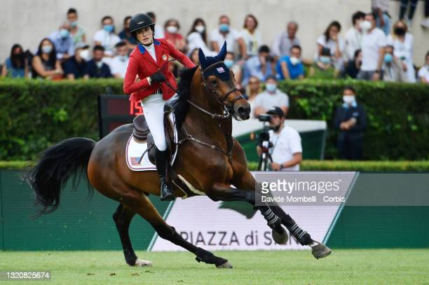 Jessica Springsteen of the USA riding Don Juan van de Donkhoeve during the jump-off as part of the Rolex Grand Prix Rome h1.60 jumping competition on...