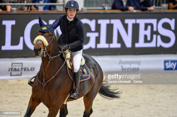 Jessica Springsteen of United States of America riding Fleur de l'Aube during the Longines FEI Jumping World Cup Verona 2018 CSI5*W on October 28...