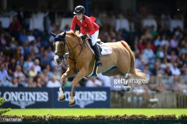 Jessica Springsteen of USA and Confu in action during the Longines BHS King George V Gold Cup at the Hickstead All England Jumping Course...
